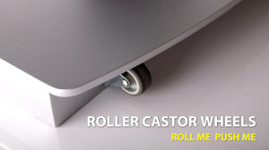 Podium with caster wheels